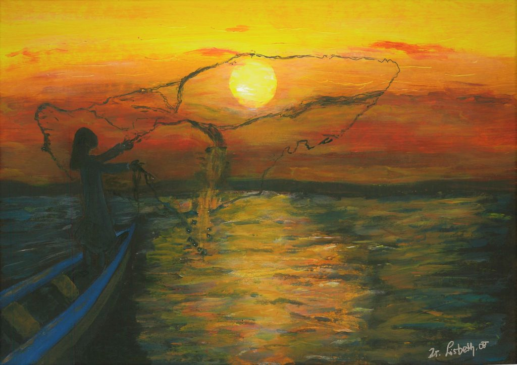 schilderij van zuster Lisbeth Ratwasih Gooi je netten uit
