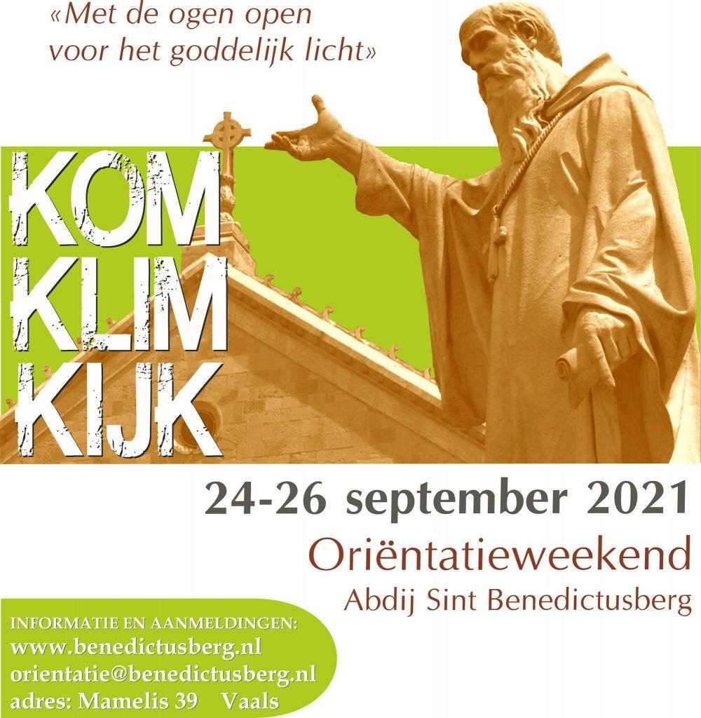 Poster Oriëntatieweekend Benedictusberg september 2021